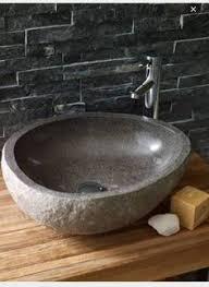 stone bathroom sinks. stone basin on wooden benchtop. bathroom sinksbathroom sinks n