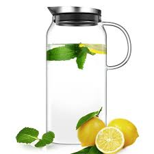 ecooe 1500ml glass water pitcher with built in filter lid