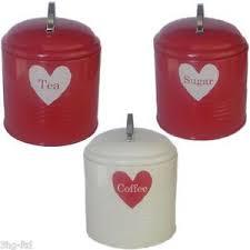Kitchen Heart Storage Jars Tea Sugar Coffee Tin Canister Red Cream Beige  Caddy | eBay