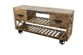 industrial furniture wheels. Industrial Chic Furniture | TV Stand With Iron Wheels Rustic Office N