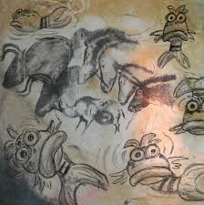 these cave paintings are from the chauvet cave in france and they date to approximately 30 000 years ago mixed in with the horses and other animals are the