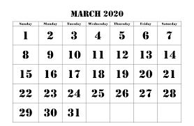 March 2020 Calendar Printable Template Pdf Word Excel