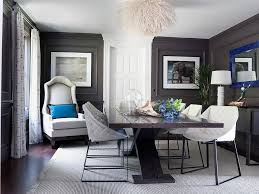 view in gallery dark gray walls and royal blue accents in the classy dining room design green
