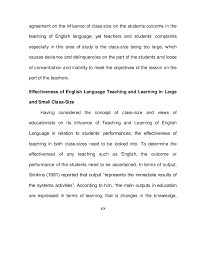effect of class size on the teaching of english language unanimous 19
