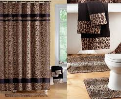 stunning black brown jungle animal leopard print pic of shower curtain sets with rugs popular and