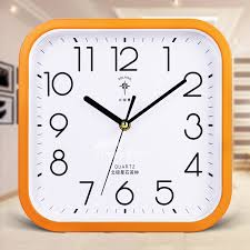 square wall clock green orange white