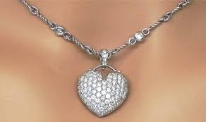las 18k white gold 2 88cts pave diamonds heart pendant diamond necklace
