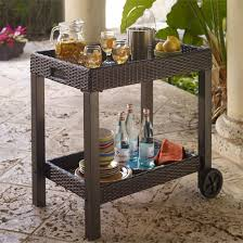 rolling serving carts with two wheels outdoor patio serving trolley
