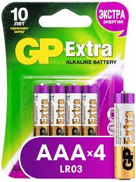 Купить <b>батарейку GP Extra</b> Alkaline <b>AAA</b> (LR03), 4 шт. (24AX-CR4 ...