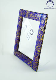 picture frame in venetian glass blue and gold art 478