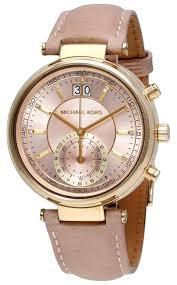 michael kors rose gold dial ink leather strap designer las dress watch image 0