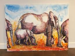 stunning original very large canvas elephant painting