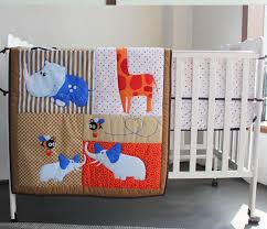 3d stereo embroidery giraffe hippo elephants bees 6 pieces baby crib cot bedding set quilt per