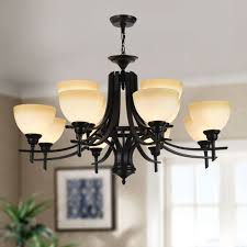 12 light black wrought iron chandelier with glass shades dk 8034 8