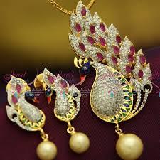 ps1339 exclusive peacock latest gold design broad zircon ruby enamel pendant set