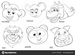 Coloring Book Animal Heads Set Cartoon Style Stock Vector