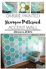 ombre painted hexagon patterned accent wall a designer at home