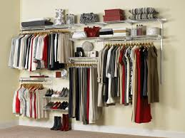 white aluminum wall mounted closet with stainless steel closet and shoe racks on the wall