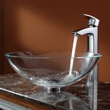 kraus c gv 100 12mm 1810ch crystal clear glass vessel sink and visio faucet chrome expressdecor com