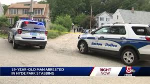A teenager has admitted stabbing two men at hyde park during a mass water fight on one of the hottest days of the year. 19 Year Old Arrested In Connection With Boston Stabbing Police Say