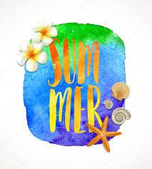夏休みベクトル イラスト 南国の花々水彩画でヒトデや海の貝殻手書き