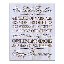40th wedding anniversary wall plaque gifts for couple 40th anniversary gifts for her 40th
