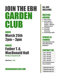 Meet And Greet Meeting Agenda Garden Club Meeting March Ebh Garden Club