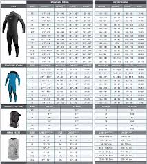 O Neill Reactor Wetsuit Size Chart Oneill Wetsuit Size Charts Coastal Sports