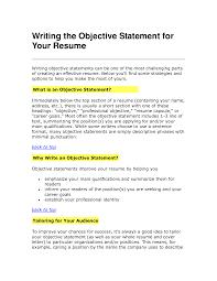 Simple Resume Objective Statements Haadyaooverbayresort Com
