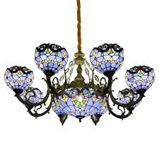 blue stained glass victorian style 1 2 tier center bowl chandelier for living room