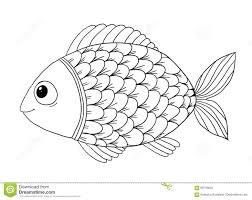 Libro Da Colorare Con Il Pesce Illustrazione Vettoriale