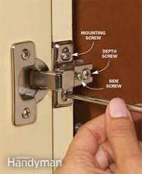 how to install cabinet hinges. adjust euro hinges. home repair: how to fix kitchen cabinets install cabinet hinges