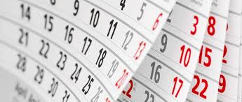 calendars of public holidays and bank