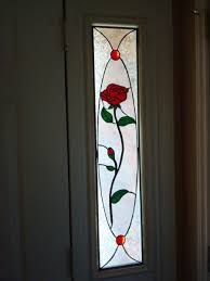 Flower Design Glass Door Residential Work Rose Sidelights Stained Glass Flowers
