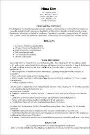 Resume Templates: Hr Benefits Specialist