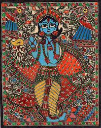 Mithila Painting Bed Sheet Design Amazon Com Madhubani Krishna Folk Painting Handmade Indian