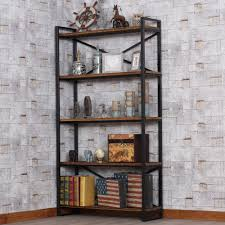 Living Room Corner Cabinet Loft Loft Wood Wrought Iron Shelf Bookcase Shelf Creative Floor