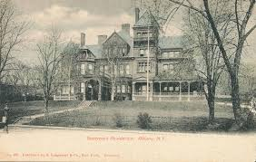 The grounds include a tennis court, a swimming pool, a vegetable garden, and a fountain area. Governors Residence Albany N Y Albany County Historical Association At Ten Broeck Mansion New York Heritage Digital Collections