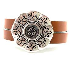 tags flower bracelet mothers day gift chunky western cuff leather cuff