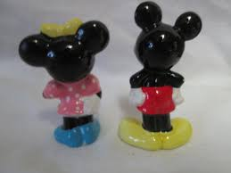 vintage mickey mouse and minnie mouse small ceramic figurines mid century taiwan 1950 s disney miniatures great