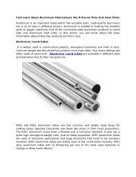 Aluminum Round Tube Size Chart Aluminium Fabrications Like A Round Tube And Heat Sinks By