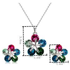 barrel shaped crystal inlaid pendant necklace and earring set for female chain length 43cm