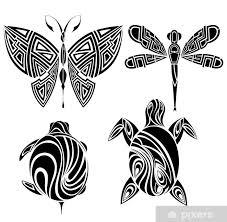Fototapeta Vinylová Tetování Design Motýla želva Vážka