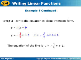 write the equation in slope intercept form y