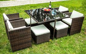 garden furniture. Amazon.com: Merax 9 PCS Rattan Cube Garden Furniture Set Dining Outdoor Wicker Cushioned Chair And Ottoman Patio (Brown): \u0026