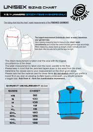X Y Jammer Sizing Chart Stock Items Anatomic Custom