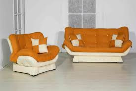 Orange Chairs Living Room Orange Cream Two Tone Microfiber Living Room W Sleeper Sofa