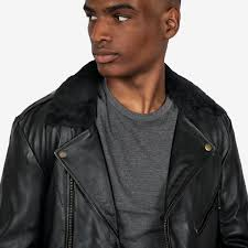 wool commando black leather jacket with black shearling