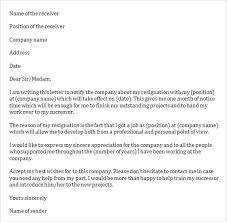 Job Resignation Letter to pany