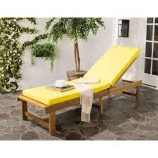 yellow patio furniture. Inglewood Brown 1-Piece All Weather Teak Outdoor Chaise Lounge Chair With Yellow Cushion Patio Furniture L